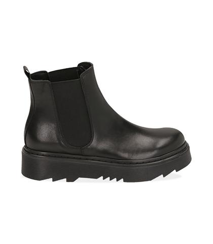 Chelsea boots neri in pelle di vitello , DONNA, 1489T0310VINERO035, 001