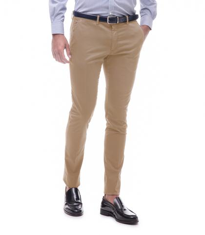 Pantaloni beige in cotone raso, Abbigliamento, 13T2T6367TSBEIG44, 001