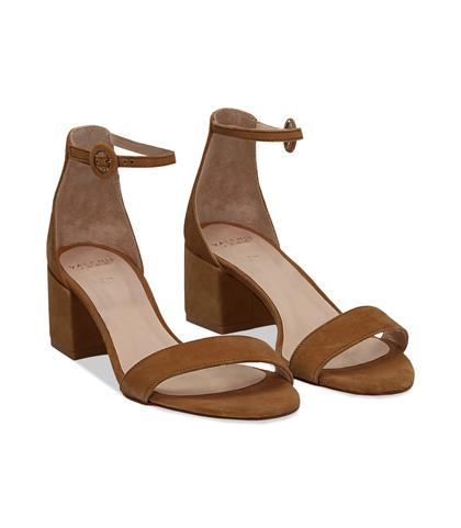 Sandali cuoio in camoscio, tacco chunky 5,50 cm, DONNA, 13D6T0807CMCUOI036, 002