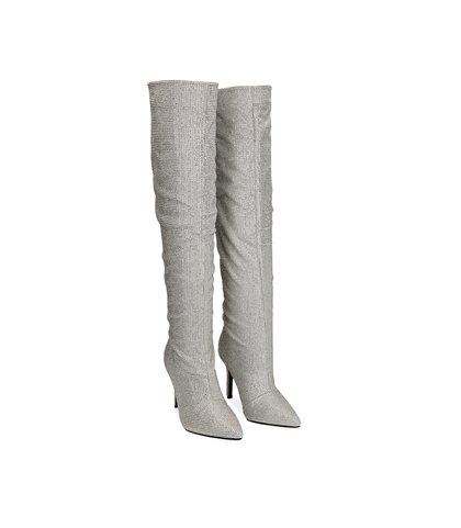 Stivali con cristalli argento , Scarpe, 1221T6022MPARGE035, 002