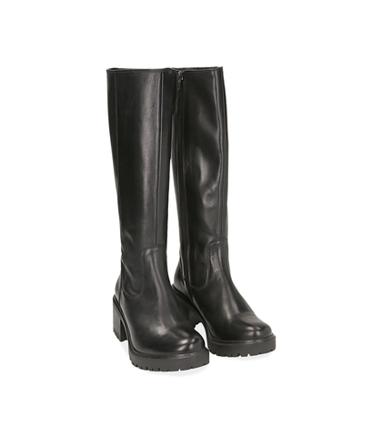 Stivali neri in vitello con suola carrarmato, Scarpe, 1294T1302VINERO035, 002
