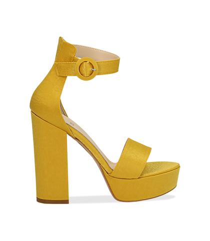 Sandali gialli in raso con plateau, tacco 13 cm, Scarpe, 13A4T7532RSGIAL036, 001