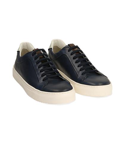 Sneakers blu/bianche in pelle, UOMO, 1598T6427PEBLBI039, 002