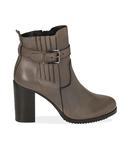 Ankle boots taupe in pelle , Scarpe, 1087T0001PETAUP035, 001