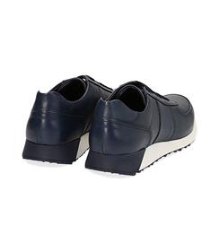 Sneakers blu in pelle con punta affusolata, UOMO, 1195T5688PEBLUE040, 004 preview
