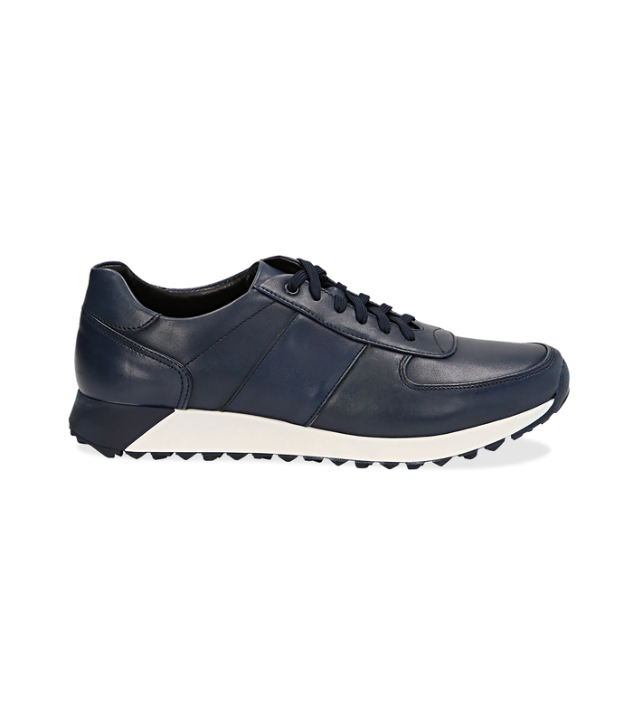 Sneakers blu in pelle con punta affusolataUOMO, 1195T5688PEBLUE040