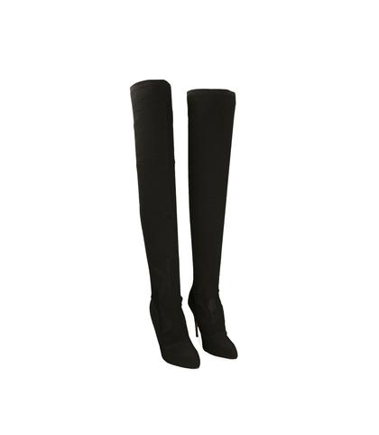 Stivali overknee neri in tessuto elastico , Scarpe, 1021T6857TSNERO035, 002