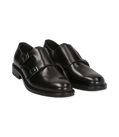 Scarpe doppia fibbia nere in pelle abrasivata, Scarpe, 12C3T5425APNERO039, 002