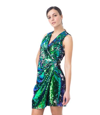 Abito corto asimmetrico verde in paillettes, Abbigliamento, 13T8T1091PLVERDL, 002