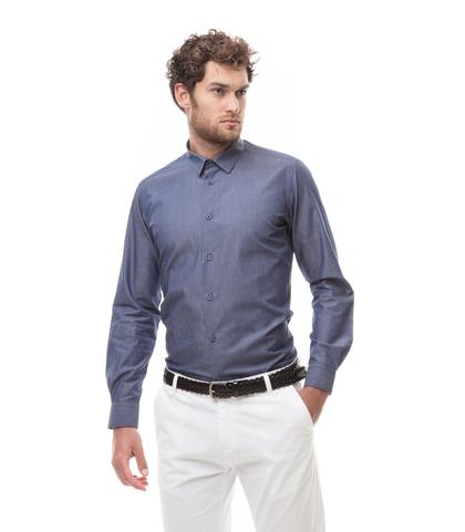 Camicia jeans in denim Chambray, Abbigliamento, 13H9T8205TSJEAN39, 001