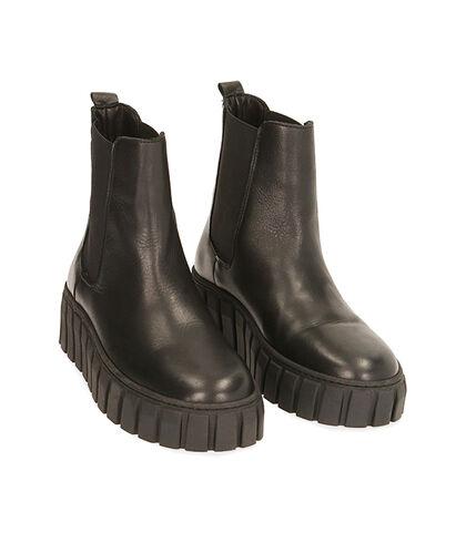 Chelsea boots neri in pelle, tacco 5 cm, Valerio 1966, 18L6T2063PENERO035, 002