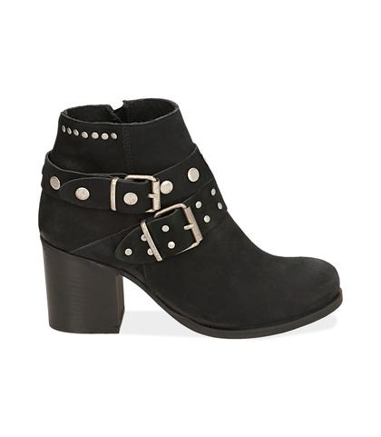 Ankle boots con fibbie neri in nabuk , Scarpe, 1056T0044NBNERO035, 001