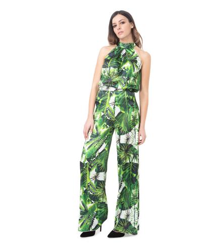 Top smanicato verde, stampa jungle, Abbigliamento, 13T8T0026TSVEFIL, 001