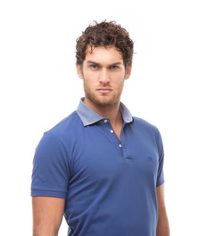 Polo blu con collo a contrasto, Valerio 1966, 13I5T0118TSBLUE46, 002