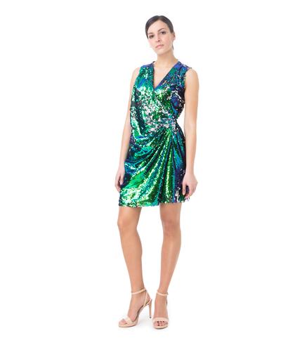 Abito corto asimmetrico verde in paillettes, Abbigliamento, 13T8T1091PLVERDL, 001
