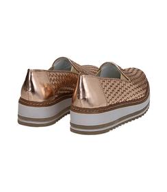 Mocassini platform oro rosa in pelle intrecciata, Scarpe, 1162T0610LIROSA036, 004 preview