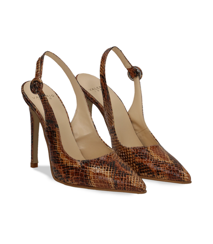 Slingback cuoio in eco-pelle snake print, Valerio 1966, 1387T3305PTCUOI036, 002