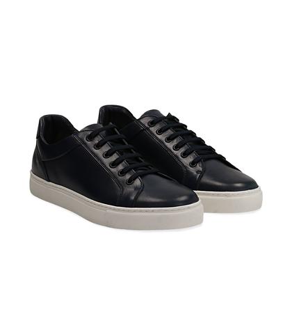Sneakers blu in pelle con suola bianca, UOMO, 1195T5735PEBLUE040, 002