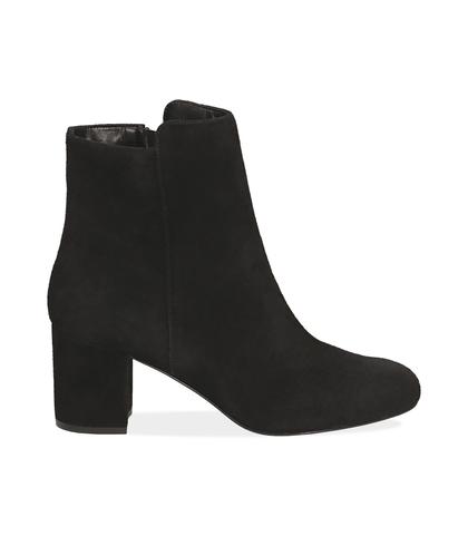 Ankle boots neri in camoscio , Valerio 1966, 14D6T1101CMNERO035, 001