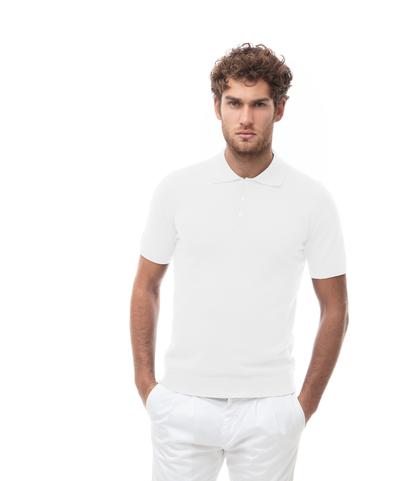 Polo basic bianca in cotone, Abbigliamento, 13T4T2003TSBIAN48, 001