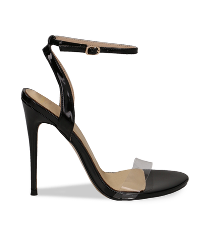 Sandali neri in eco-pelle con fascia in pvc, Scarpe, 1321T1042VENERO035, 001