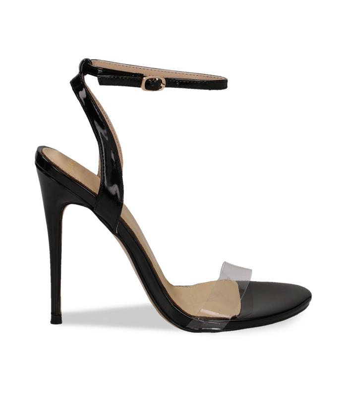 Sandali neri in eco-pelle con fascia in pvcScarpe, 1321T1042VENERO036