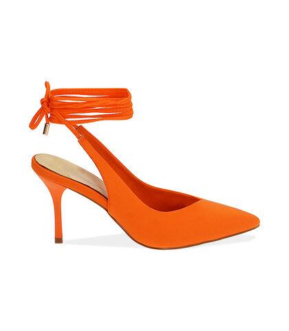 Slingback lace-up arancio in lycra, tacco 8,5 cm , Valerio 1966, 1721T6283LYARAN035, 001