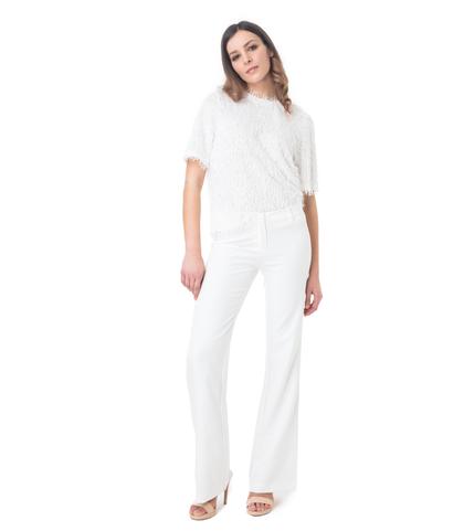 T-shirt bianca con tessuto a frange, Valerio 1966, 11F8T1780TSBIAN40, 001