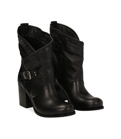 Ankle boots neri in pelle di vitello con gambale traforato, tacco 7 cm, Valerio 1966, 1156T0308VINERO036, 002