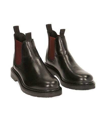 Chelsea boots nero/bordeaux in pelle, Valerio 1966, 1877T6122PENEBO039, 002