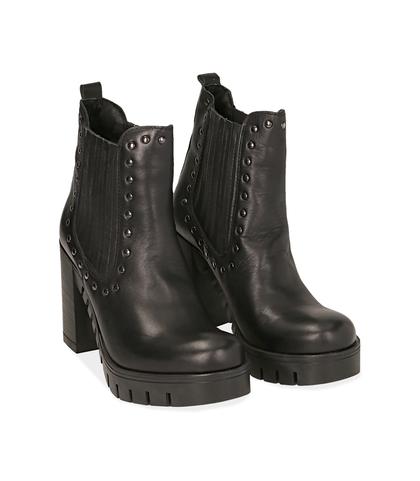 Ankle boots con borchie neri in nabuk , Valerio 1966, 1256T0037NBNERO035, 002