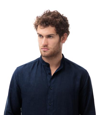 Camicia blu in lino,con collo guru, Abbigliamento, 13H9T8209TSBLUE39, 002
