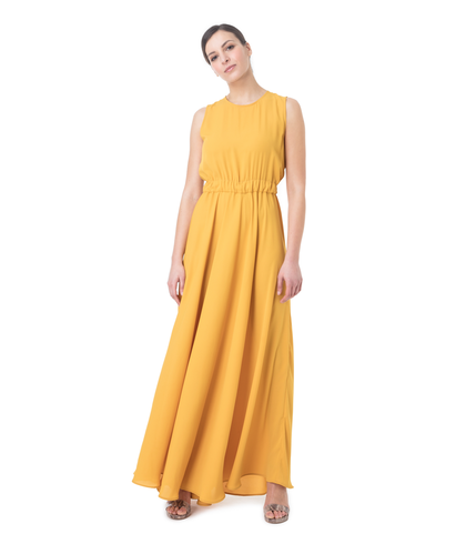 Abito lungo giallo giromanica, Abbigliamento, 13E2T1400TSGIALL, 001