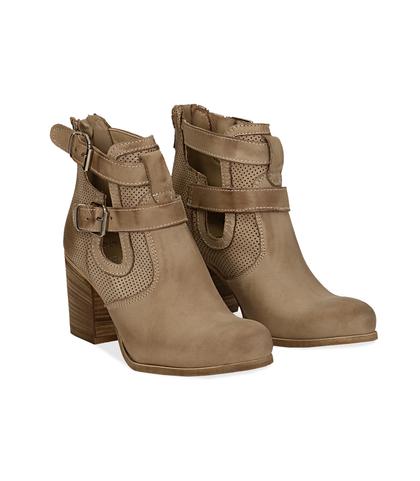 Ankle boots beige in nabuk con cinturini, tacco 7 cm, Valerio 1966, 1156T1601NBBEIG036, 002