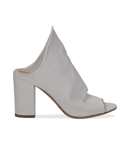 Mules open-toe bianche in pelle, tacco 9 cm , Scarpe, 1356T0917PEBIAN036, 001