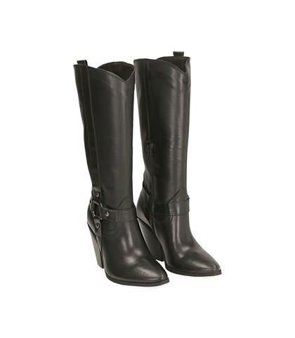 Camperos con gambale alto neri in pelle di vitello , Scarpe, 1289T0800VINERO035, 002