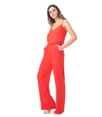 Pantaloni a campana rossi a vita alta, 11G7T7663TSROSS40, 001