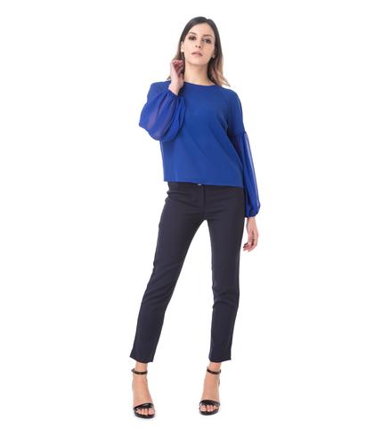 Blusa blu con maniche a sbuffo, Valerio 1966, 11G7T8748TSBLUEL, 002