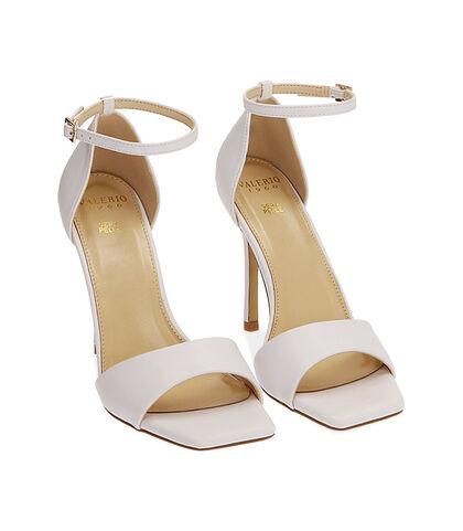 Sandali bianchi, tacco 10,5 cm , Valerio 1966, 1721T4210EPBIAN035, 002