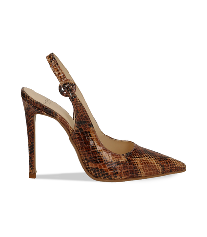 Slingback cuoio in eco-pelle snake print, Valerio 1966, 1387T3305PTCUOI036, 001