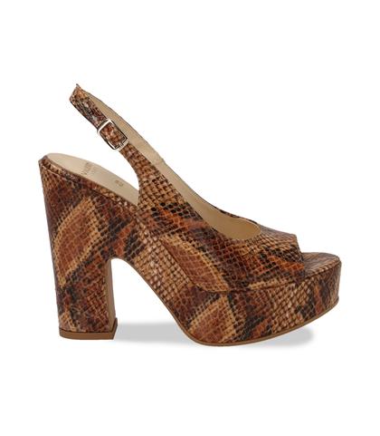 Sandali cuoio in eco-pelle, effetto snake skin, tacco-zeppa, DONNA, 13A5T0700PTCUOI035, 001