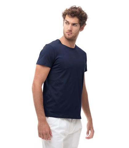T-shirt girocollo blu in cotone, Abbigliamento, 13T6T3925TSBLUEL, 001