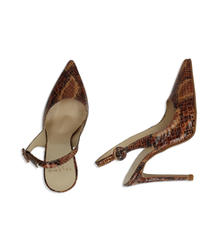 Slingback cuoio in eco-pelle snake print, Valerio 1966, 1387T3305PTCUOI036, 003 preview