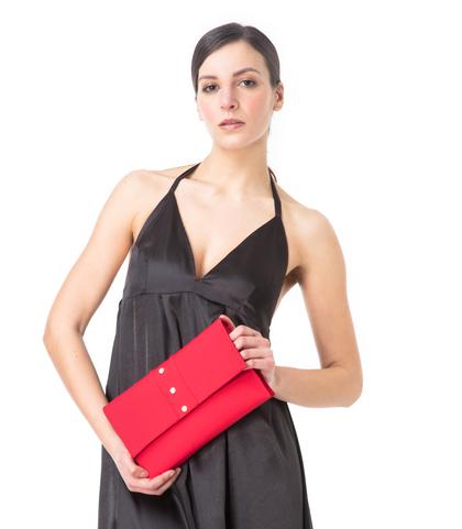 Pochette rossa in lycra con perle , Borse, 1166T6440LYROSSUNI, 002