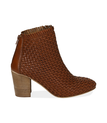 Ankle boots cuoio in pelle intrecciata, tacco 7,50 cm , Valerio 1966, 15C5T5018PICUOI035, 001