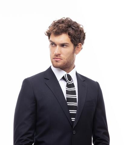 Cravatta nero/bianca rigata in cotone con fondo dritto, Valerio 1966, 11I9T0023TSNEBIUNI, 002