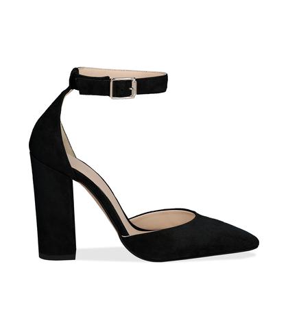 Décolleté nere in camoscio con cinturino alla caviglia, tacco 10,50 cm, Valerio 1966, 11D6T0579CMNERO036, 001