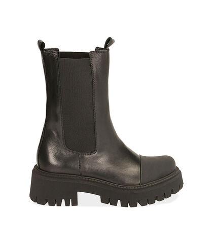 Chelsea boots neri in pelle, tacco 5,5 cm , Valerio 1966, 1872T4477PENERO035, 001