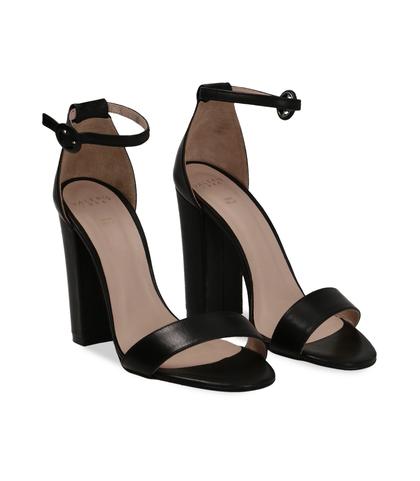 Sandali neri in pelle, tacco a colonna 10,50 cm, DONNA, 13D6T0707VINERO036, 002