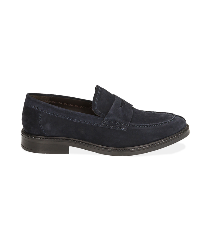 Mocassini blu in camoscioScarpe, 1477T0607CMBLUE040